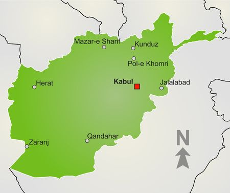 afghanistan': A stylized map of Afghanistan showing different big cities, borders and nearby countries.