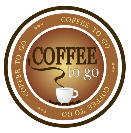 An illustrated badge offering fresh brewed coffee to go. All on white background. photo