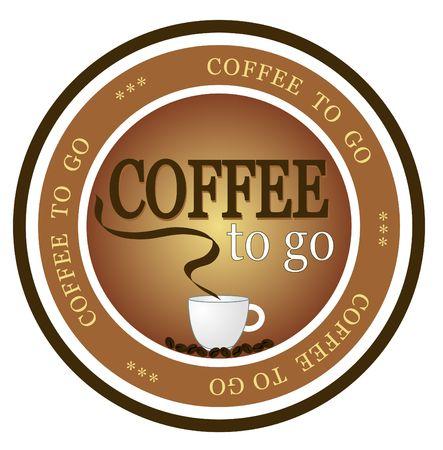 caf� � emporter: Un insigne illustr� offrant caf� frais aller. Sur fond blanc.