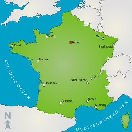 plotting: A stylized map of France showing several big cities and nearby countries. Stock Photo