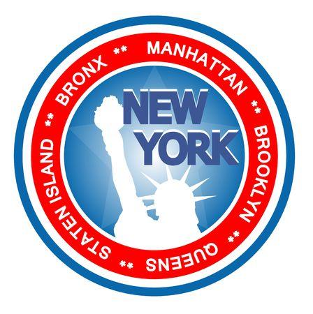 ny: An illustrated badge symbolizing the city of New York. Stock Photo