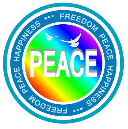 quietude: An illsutrated badge symbolizing world peace. All on white background.