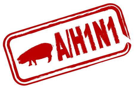 pandemia: An illustrated stamp is warning about the swine flu H1N1 virus. Stock Photo