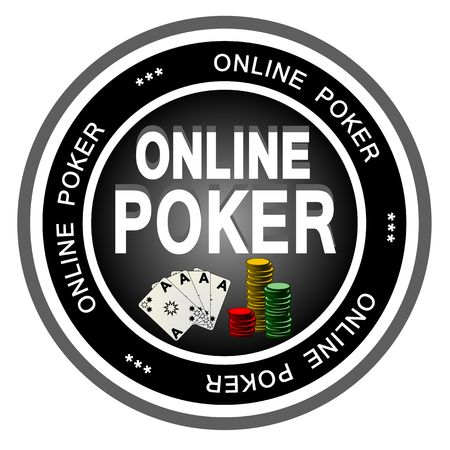 online game: An illustrated dark badge symbolizing classical online poker. Stock Photo