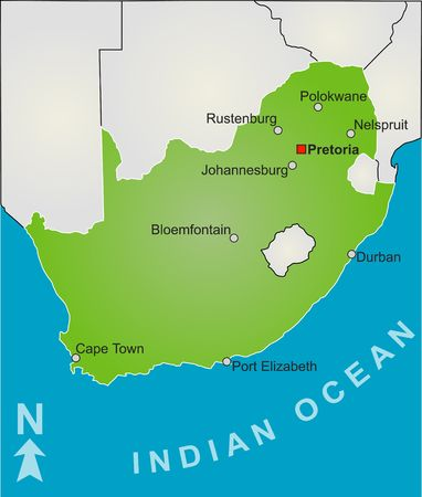 A stylized map of South Africa showing all playing venue of the soccer worldcup 2010. photo