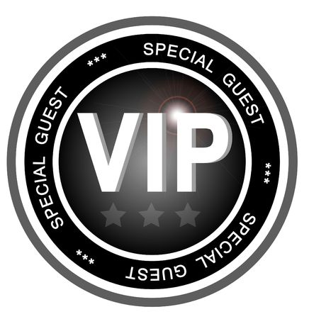 privilege: An illustrated badge symbolizing a very important person or special guest to an event or party. Stock Photo