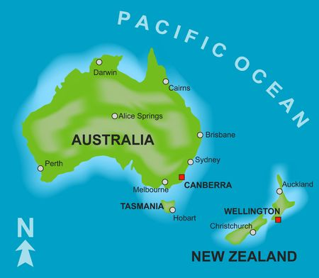 A stylized map showing the countries of Australia and New Zealand. photo