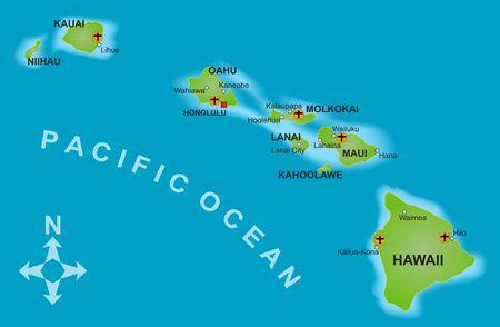 oahu: A stylized mapof the island of Hawaii and all adjacent islands. Stock Photo