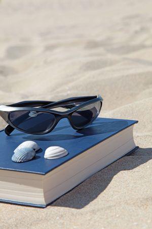 躺在沙子的一本书和太阳镜,象征着娱乐。