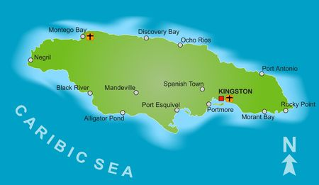 plotting: A stylized map of Jamaica showing different big cities. Stock Photo
