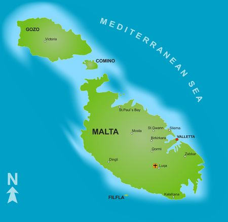 malta cities: A stylized map of Malta showing the islands and different cities.