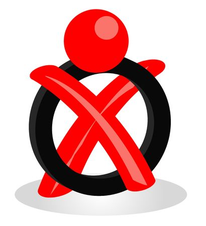 hustings: A stylized red figure symbolizing an election.