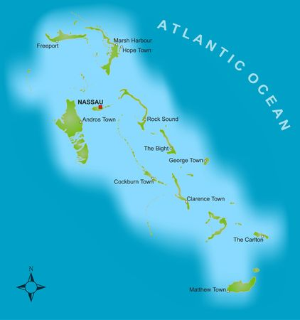 freeport: A stylized map showing the islands of Bahamas as well as severel cities.
