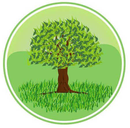 bionomics: An illustrated badge symbolizing ecology. All on white background. Stock Photo