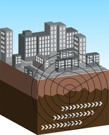 convulsion: Una escena ilustrada que muestra el epicentro de un terremoto. Foto de archivo