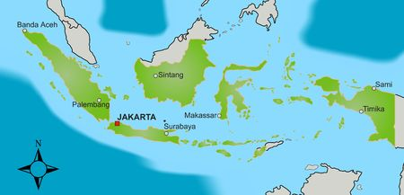 isles: A stylized map of Indonesia showing different big cities as well as nearby countries.