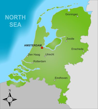 A stylized map of the Netherlands showing different big cities as well as nearby countries. photo