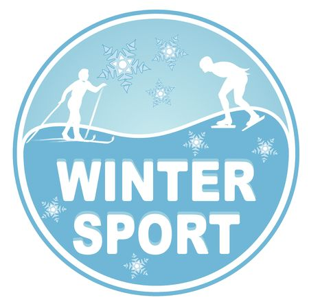 An illustrated badge symbolizing winter sports. All on white background. photo