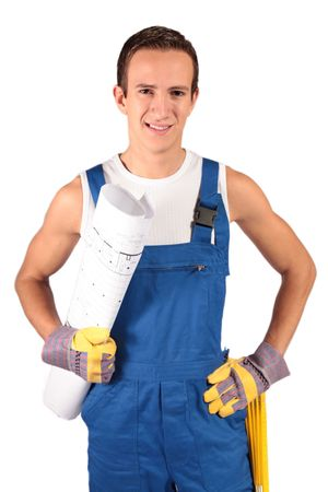 trainee: A young construction worker trainee. All isolated on white background.