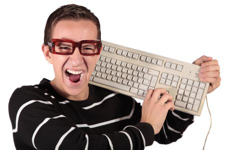A typical nerd holding a keyboard. All isolated on white background. Stock Photo - 6318001