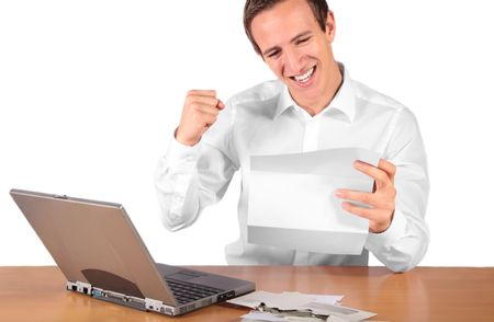 pay raise: A happy young employee gets a pay raise. All isolated on white background. Stock Photo