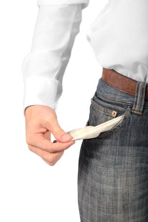 poorness: A cash-strapped man. All isolated on white background.