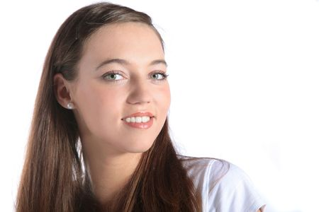 arrogant teen: An attractive young woman smiling. All isolated on white background. Stock Photo