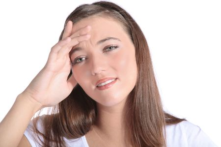 suffers: An attractive young woman suffers from a headache. All isolated on white background. Stock Photo
