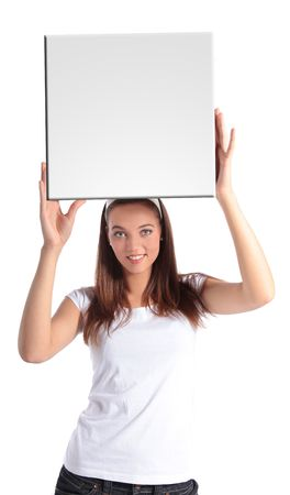 uphold: An attractive young woman holding a white board. All isolated on white background.