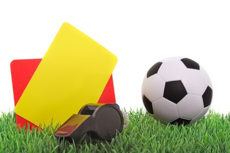 fairplay: Typical utensils of a referee for a soccer match.