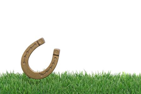fortunateness: A horseshoe on a green meadow symbolizing a lucky chance. All on white background.