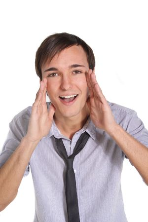 whooping: A handsome young man yelling. All isolated on white background.