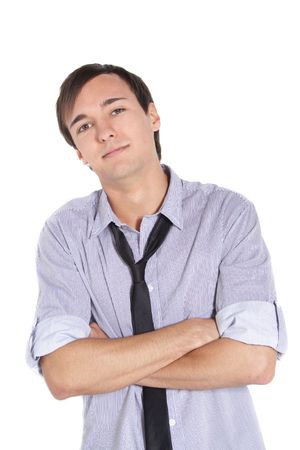 A handsome young man standing in front of a white background. photo