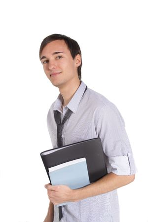A handsome student holding his documents while standing in front of a white background. photo