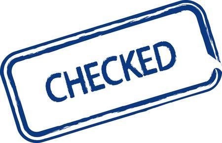 proved: Un francobollo illustrato che dice che qualcosa � stata verificata. Tutto su sfondo bianco. Archivio Fotografico