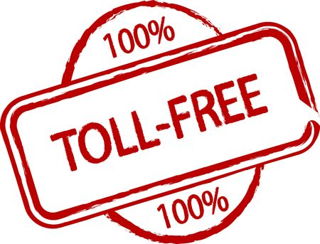 toll free: An illustrated stamp that declares something as toll-free. All on white background.
