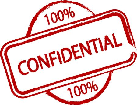 confide: An illustrated stamp that says that something is confidential. All on white background.