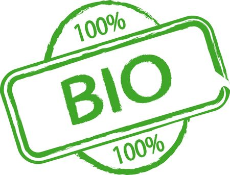 biological: An illustrated stamp that says something is 100% biological. All on white background. Stock Photo