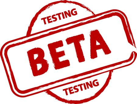 that: An illustrated badge that declares a beta status. All on white background.