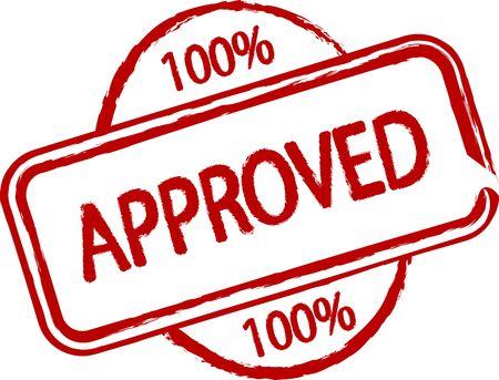 proved: Un francobollo illustrato che dice qualcosa � approvato al 100%. Tutto su sfondo bianco.