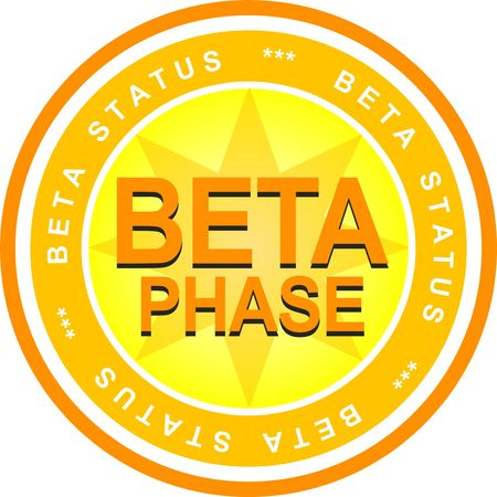 status: An illustrated badge that declares a beta status. All on white background.