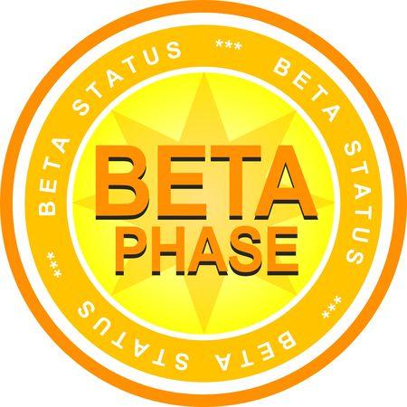beta: Un distintivo illustrato che dichiara lo stato di beta. Tutto su sfondo bianco.