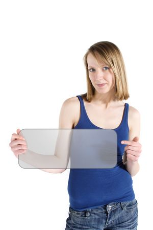 A handsome young woman holding an illustrated sign. All on white background.
