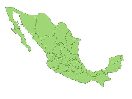 green tone: A map of Mexico in green tone showing the different provinces. All isolated on white background. Stock Photo