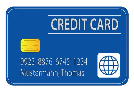 cashless: A stylized credit card showing fictional information.