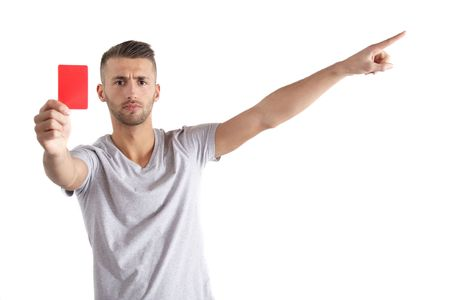 expulsion: A handsome man shows someone a red card. All isolated on white background.
