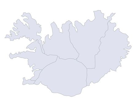 plotting: A stylized map of Iceland showing the different provinces.