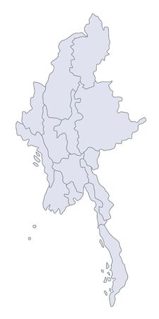 plotting: A stylized map of Myanmar showing the different provinces