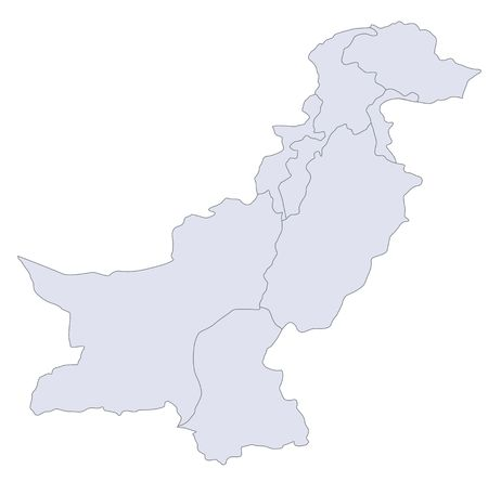 plotting: A stylized map of Pakistan showing the different provinces. Stock Photo