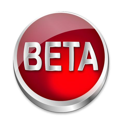status: A shiny red  button says that something is still in Beta status. All on white background.